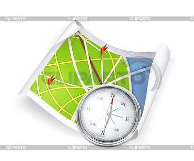 Mapa drogowa i kompas | Klipart wektorowy |ID 3777339