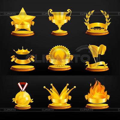 Gold-Auszeichnungen, auf schwarzem Set | Stock Vektorgrafik |ID 3777553
