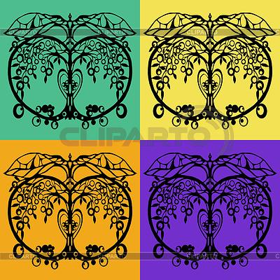 Vier Varianten von Hälften eines schwarzen Apfel   Illustration mit hoher Auflösung  ID 3788669
