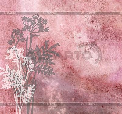 Grasses and butterflies on an ancient dim background | Stockowa ilustracja wysokiej rozdzielczości |ID 3788968