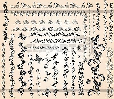 Vintage floral nahtlose Grenzen | Stock Vektorgrafik |ID 3810618