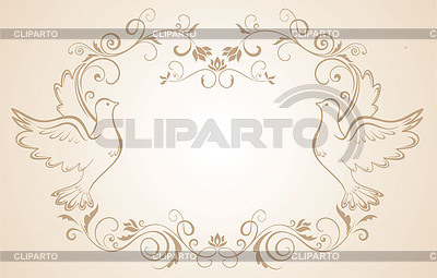 Hochzeits-Rahmen mit Tauben | Stock Vektorgrafik |ID 3846207