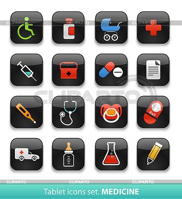 Medizin. Tablet-Schaltflächen-Sammlung | Stock Vektorgrafik |ID 3826338