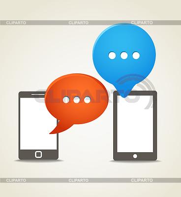 Zwei moderne Handy mit Rede Wolken | Stock Vektorgrafik |ID 3827303