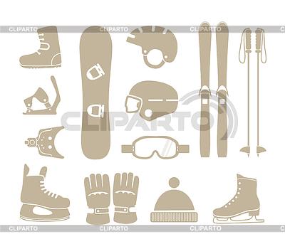 Wintersportausrüstung Silhouetten Sammlung | Stock Vektorgrafik |ID 3845736