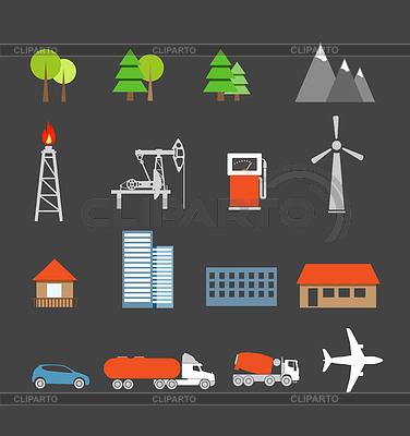 Verkehr und Ökologie Ikonen-Sammlung | Illustration mit hoher Auflösung |ID 3913768