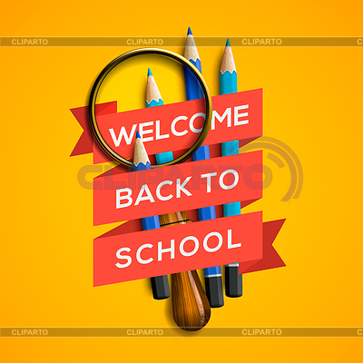 Willkommen zurück in der Schule auf gelbem Hintergrund | Stock Vektorgrafik |ID 3842322