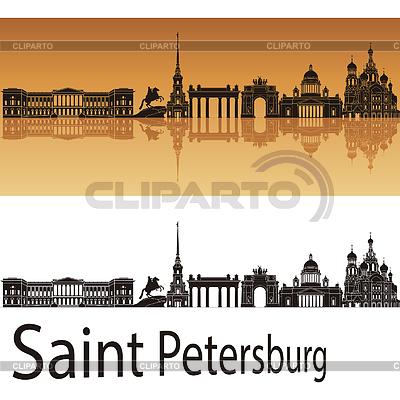 Sankt Petersburg Skyline in orangefarbenen Hintergrund | Stock Vektorgrafik |ID 3891556