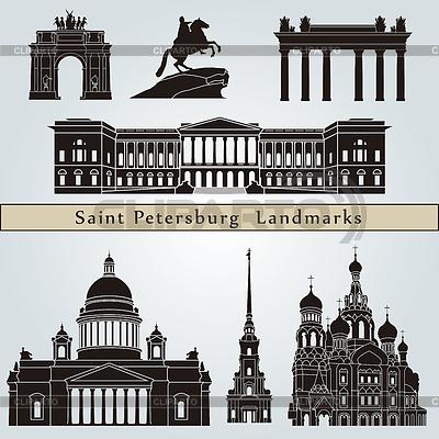 Sehenswürdigkeiten und Denkmäler in Sankt Petersburg | Stock Vektorgrafik |ID 3918745