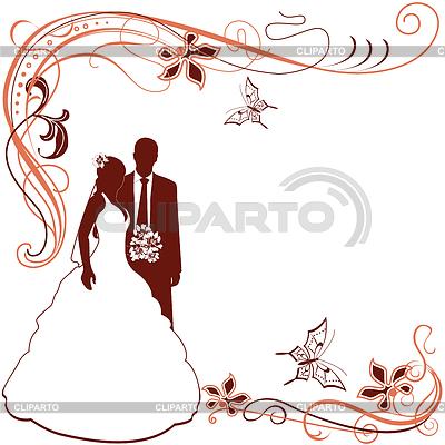 Ślub zaproszenie z parą | Klipart wektorowy |ID 3871748