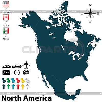 Mapa polityczna Ameryki Północnej | Klipart wektorowy |ID 4054552