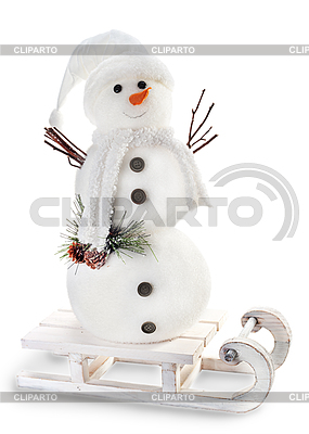 Schneemann auf Schlitten auf weißem Hintergrund | Foto mit hoher Auflösung |ID 3873797