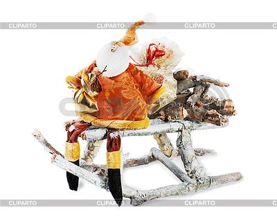 Abstrakte Schneemann mit Geschenk Tasche auf Schlitten | Foto mit hoher Auflösung |ID 3873845