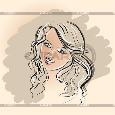Gesicht des Mädchens auf braunem Hintergrund | Stock Vektorgrafik |ID 3905562