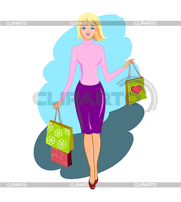 Happy shopping Frau | Stock Vektorgrafik |ID 3905574
