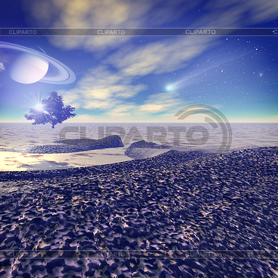 Eine andere Welt. Fantastische Landschaft, gerendert 3D | Illustration mit hoher Auflösung |ID 3914137