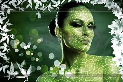 Leaf. Abstrakt weibliches Portrait mit natürlichen | Foto mit hoher Auflösung |ID 3916573