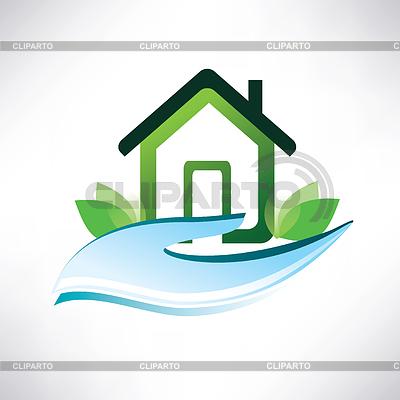 Dom symbol na dłoni | Klipart wektorowy |ID 3923623