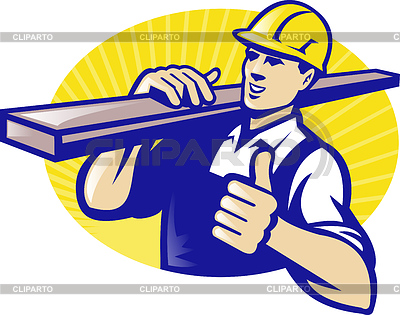 Carpenter Builder Worker Thumbs Up | Stock Vektorgrafik |ID 3959959
