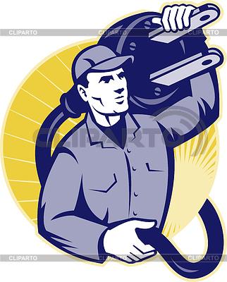 Elektriker Arbeiter Halten einen elektrischen Stecker | Stock Vektorgrafik |ID 3960059