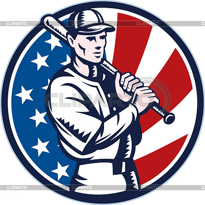 Baseball-Spieler mit Schläger american flag | Stock Vektorgrafik |ID 3962017