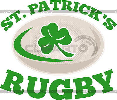 St. patrick `s Rugby-Ball Kleeblatt | Illustration mit hoher Auflösung |ID 3964059