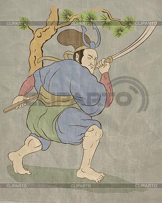 Samurai-Krieger mit Katana Schwert Kampfstellung | Illustration mit hoher Auflösung |ID 3964379
