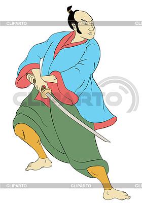Samurai-Krieger mit Katana Schwert Kampfstellung | Illustration mit hoher Auflösung |ID 3964399