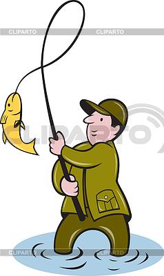 Rybaka przylot połowów ryb nawijania | Klipart wektorowy |ID 3964518