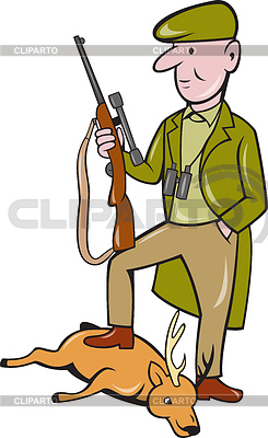 Illustration of a cartoon hunter with rifle standing on dead deer on ...