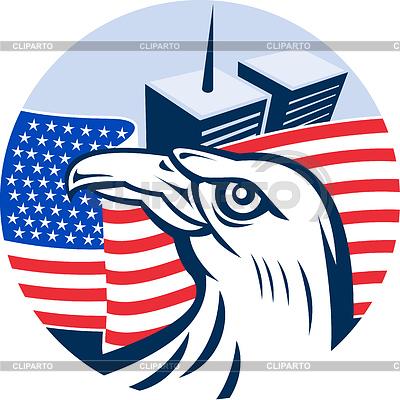 Amerikanischer Adler Flagge und Twin Tower Gebäude | Stock Vektorgrafik |ID 3967889