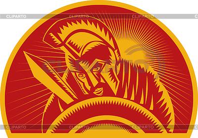 Römischer Soldat oder Gladiator mit Schwert und Schild | Stock Vektorgrafik |ID 3968807