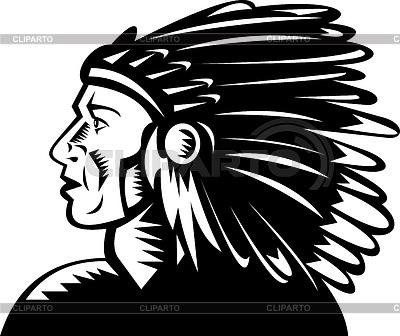 Indianischen Häuptling mit Kopfschmuck   Stock Vektorgrafik  ID 3977179