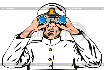 Navy Kapitän Seemann mit Fernglas | Stock Vektorgrafik |ID 3978046