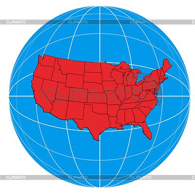 Глобус США Карта | Иллюстрация большого размера |ID 3984047