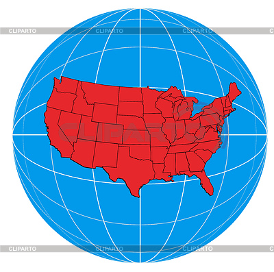 Globe USA Karte | Illustration mit hoher Auflösung |ID 3984047