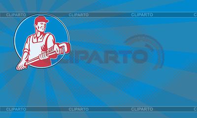 Hydraulik pracownika Monkey Wrench Retro | Stockowa ilustracja wysokiej rozdzielczości |ID 4009362