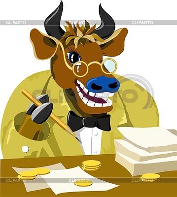 Cartoon bull is businessman | Stockowa ilustracja wysokiej rozdzielczości |ID 3995318