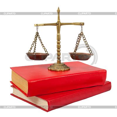 Waage der Gerechtigkeit auf juristische Bücher | Foto mit hoher Auflösung |ID 3998302