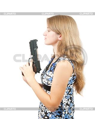 Shot z piękną dziewczyną posiadania broni | Foto stockowe wysokiej rozdzielczości |ID 4001208