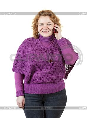 Unansehnliche Frau spricht durch Handy | Foto mit hoher Auflösung |ID 4017777