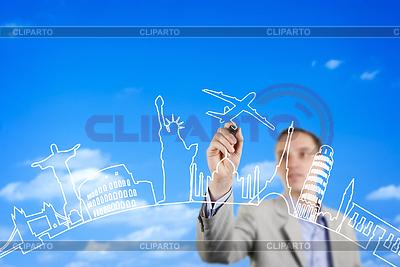 Człowiek biznesu rysunek na szkle ścianie | Foto stockowe wysokiej rozdzielczości |ID 4034453