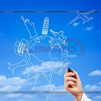 Männlich Hand zeichnen Top-Reiseziele | Foto mit hoher Auflösung |ID 4034456