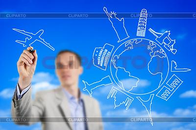 Młody mężczyzna rysunek wyimaginowanej Latanie samolotem | Foto stockowe wysokiej rozdzielczości |ID 4034457