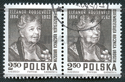 Eleanor Roosevelt on Polish vintage stamp | 높은 해상도 사진 |ID 4286231