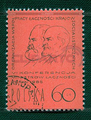 W. Lenin i K. Marks na polskim vintage znaczek | Foto stockowe wysokiej rozdzielczości |ID 4286236