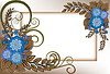 Vector clipart: frame of blue flowers