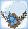 Vector clipart: Round frame with blue flowers