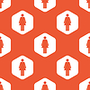 Orange hexagon woman pattern