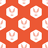 Orange hexagon bird pattern